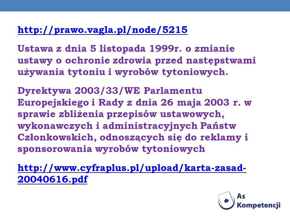http://prawo.vagla.pl/node/5215 Ustawa z dnia 5 listopada 1999r. o zmianie ustawy o ochronie zdrowia przed następstwami używania tytoniu i wyrobów tyt