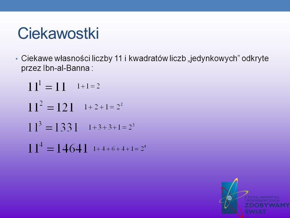 Ciekawostki Ciekawe własności liczby 11 i kwadratów liczb jedynkowych odkryte przez Ibn-al-Banna :