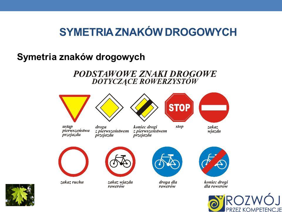 SYMETRIA ZNAKÓW DROGOWYCH Symetria znaków drogowych