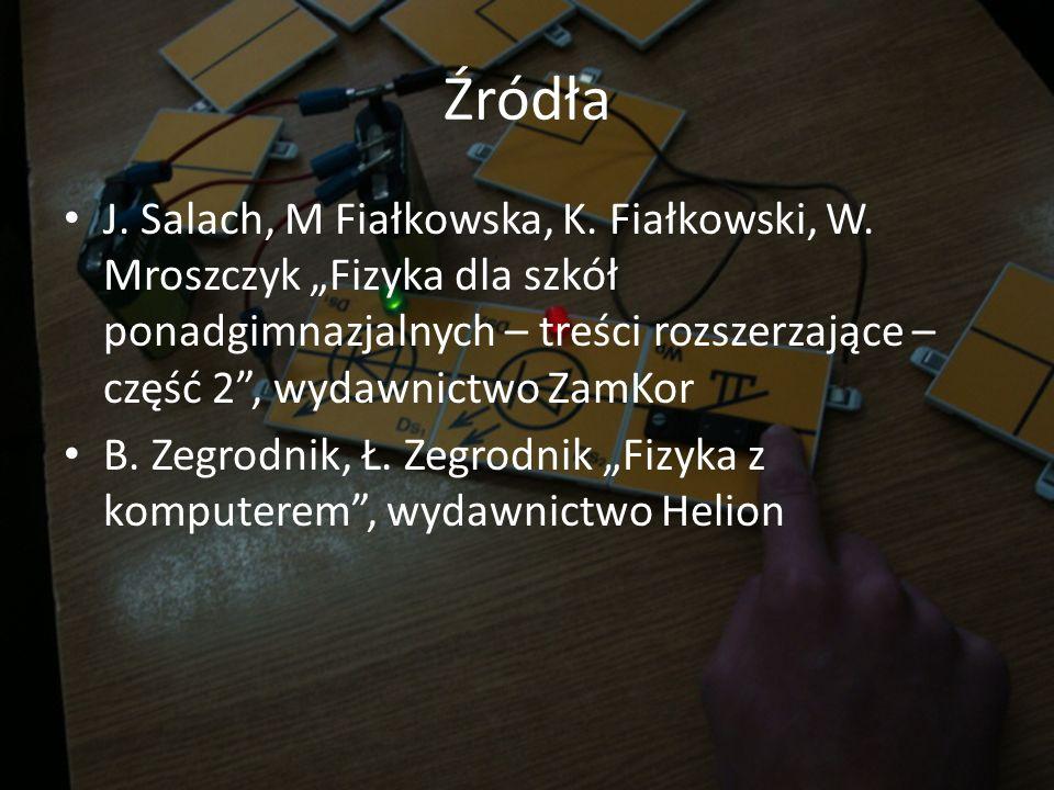 Źródła J. Salach, M Fiałkowska, K. Fiałkowski, W. Mroszczyk Fizyka dla szkół ponadgimnazjalnych – treści rozszerzające – część 2, wydawnictwo ZamKor B