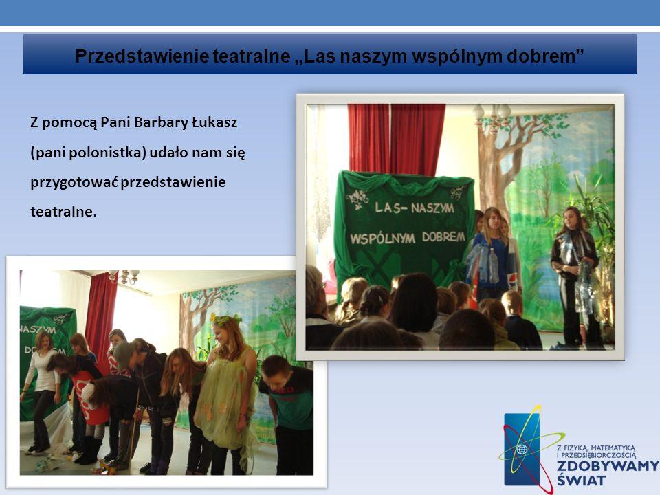 Przedstawienie teatralne Las naszym wspólnym dobrem Z pomocą Pani Barbary Łukasz (pani polonistka) udało nam się przygotować przedstawienie teatralne.