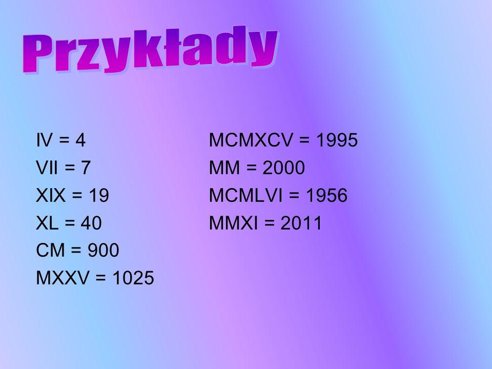 IV = 4 VII = 7 XIX = 19 XL = 40 CM = 900 MXXV = 1025 MCMXCV = 1995 MM = 2000 MCMLVI = 1956 MMXI = 2011