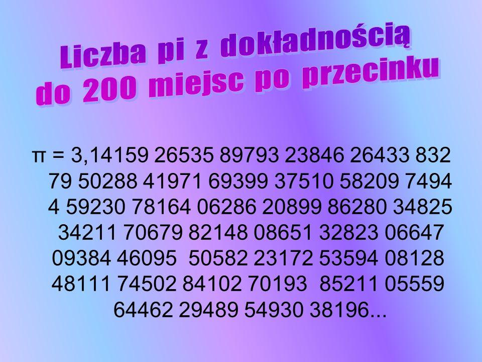 π = 3,14159 26535 89793 23846 26433 832 79 50288 41971 69399 37510 58209 7494 4 59230 78164 06286 20899 86280 34825 34211 70679 82148 08651 32823 0664
