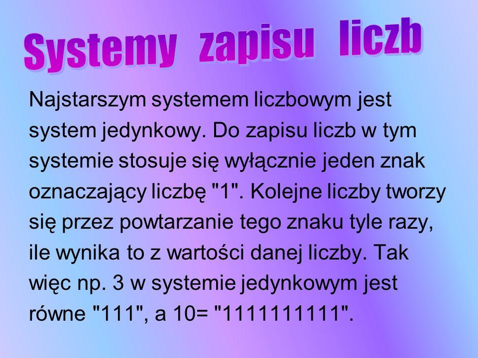Najstarszym systemem liczbowym jest system jedynkowy. Do zapisu liczb w tym systemie stosuje się wyłącznie jeden znak oznaczający liczbę