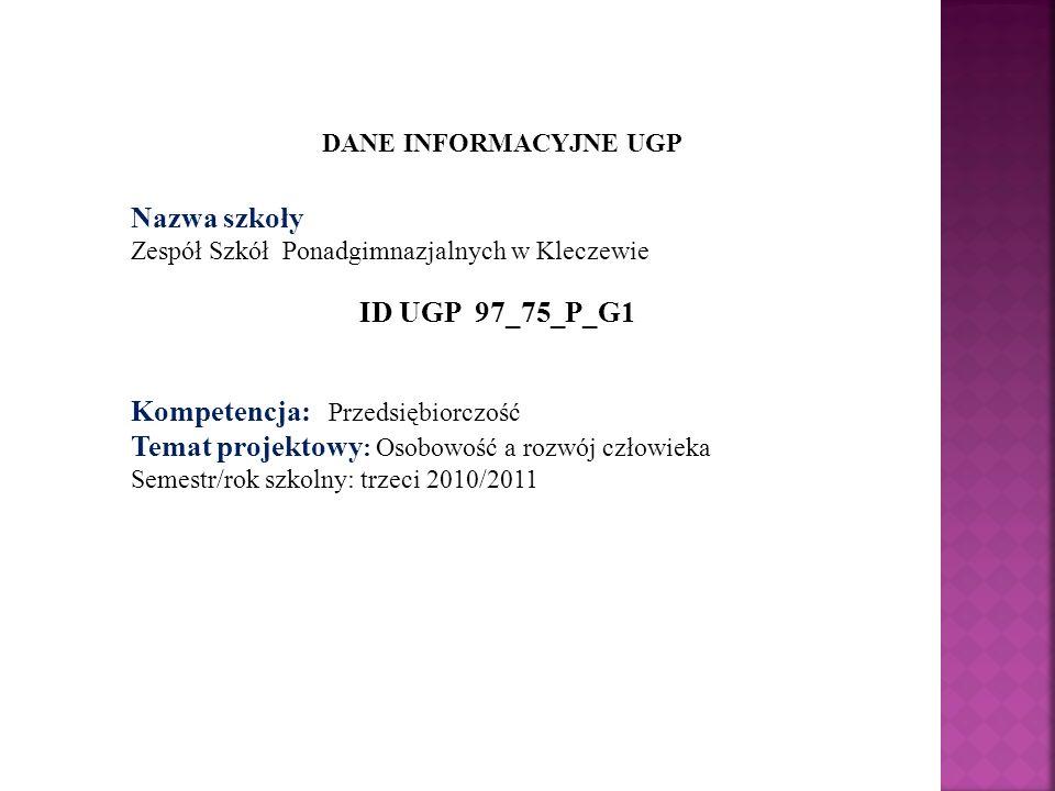 DANE INFORMACYJNE UGP Nazwa szkoły Zespół Szkół Ponadgimnazjalnych w Kleczewie ID UGP 97_75_P_G1 Kompetencja: Przedsiębiorczość Temat projektowy : Oso