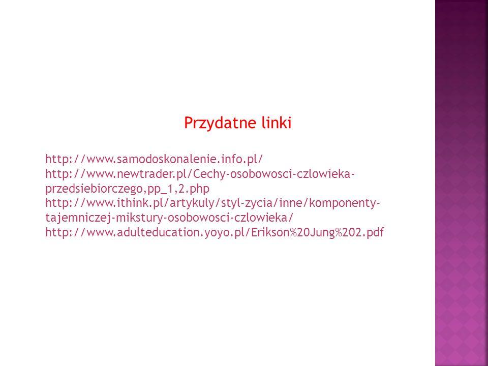 Przydatne linki http://www.samodoskonalenie.info.pl/ http://www.newtrader.pl/Cechy-osobowosci-czlowieka- przedsiebiorczego,pp_1,2.php http://www.ithin