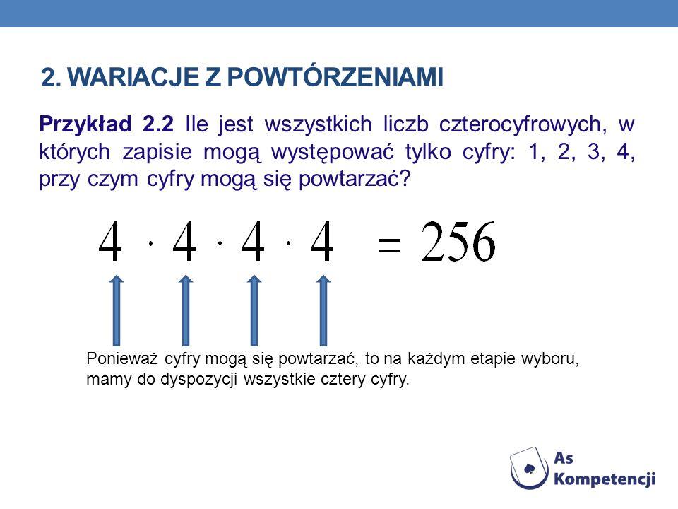 2. WARIACJE Z POWTÓRZENIAMI Przykład 2.2 Ile jest wszystkich liczb czterocyfrowych, w których zapisie mogą występować tylko cyfry: 1, 2, 3, 4, przy cz