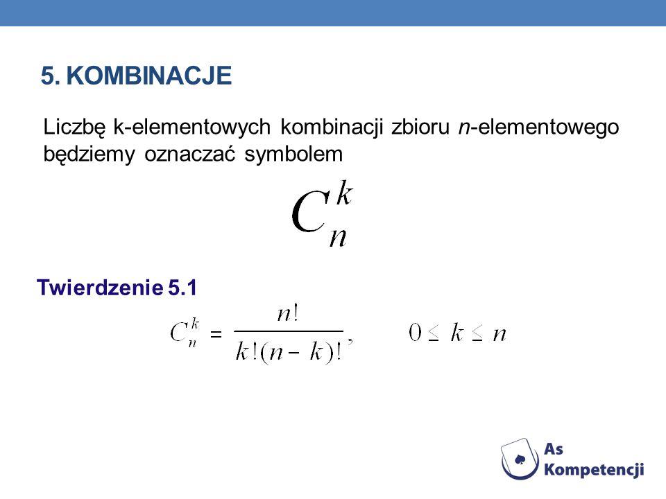 5. KOMBINACJE Liczbę k-elementowych kombinacji zbioru n-elementowego będziemy oznaczać symbolem Twierdzenie 5.1