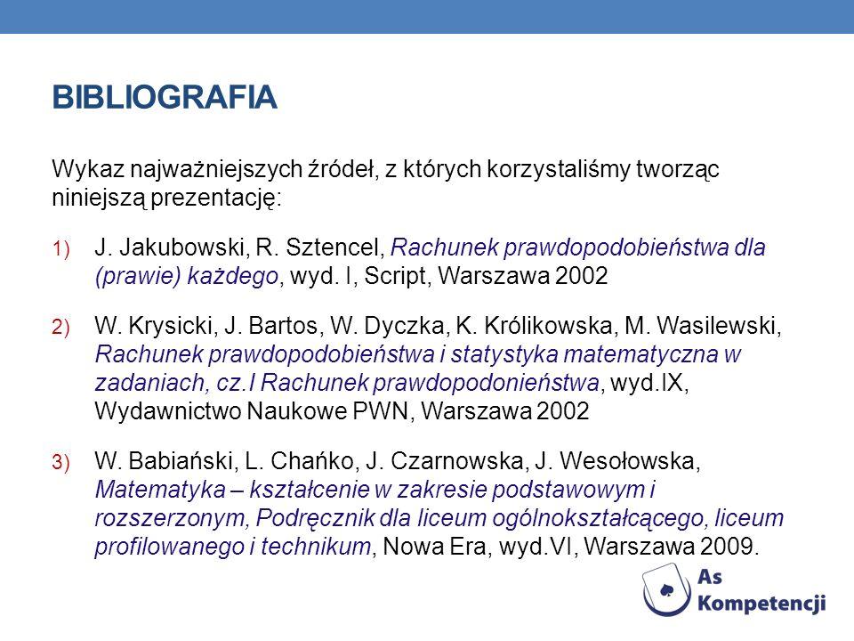 BIBLIOGRAFIA Wykaz najważniejszych źródeł, z których korzystaliśmy tworząc niniejszą prezentację: 1) J. Jakubowski, R. Sztencel, Rachunek prawdopodobi
