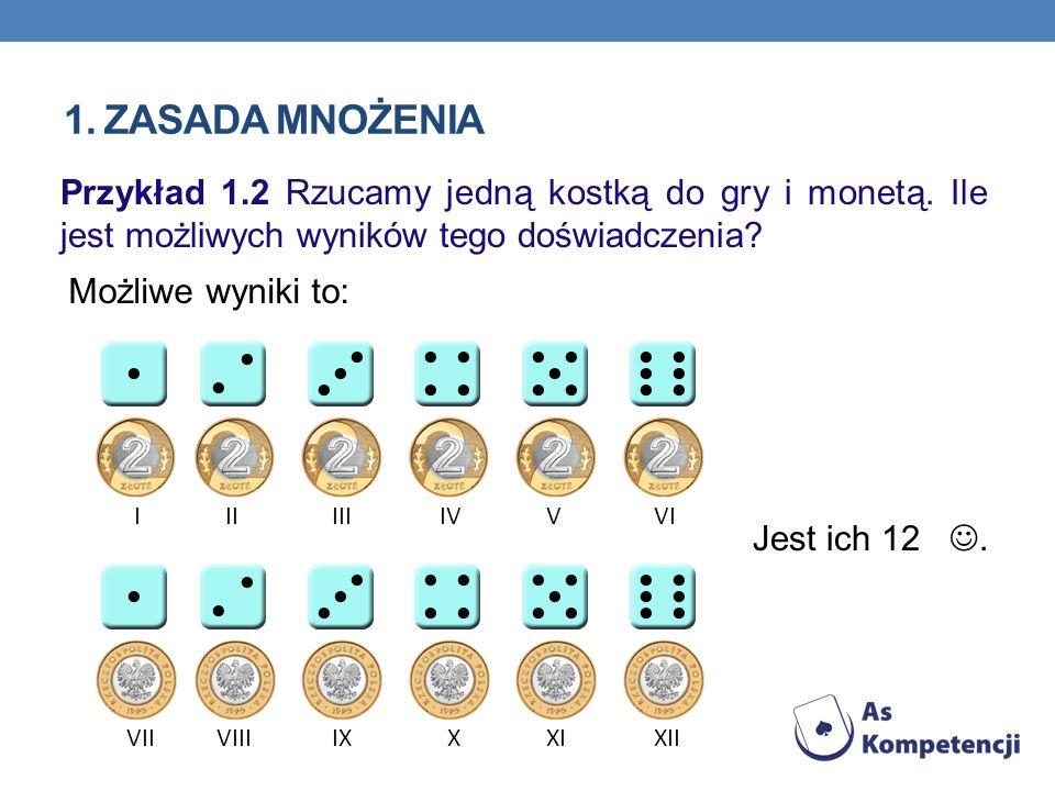 Możliwe wyniki to: VII IIIIIIVVVII VIIIIXXXIXII Przykład 1.2 Rzucamy jedną kostką do gry i monetą. Ile jest możliwych wyników tego doświadczenia? Jest