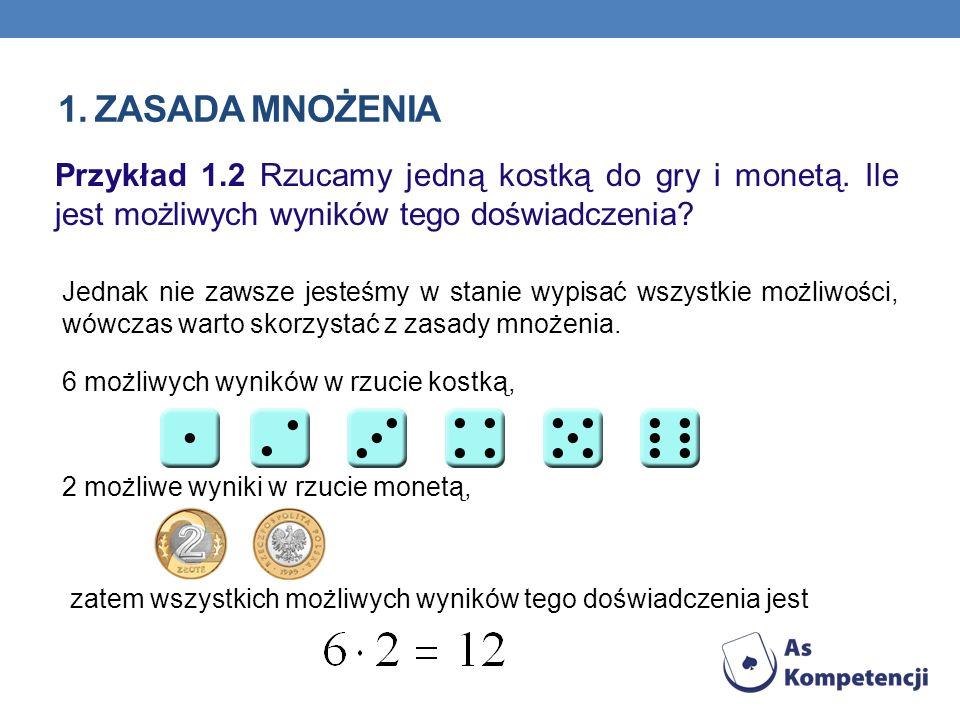 1. ZASADA MNOŻENIA Przykład 1.2 Rzucamy jedną kostką do gry i monetą. Ile jest możliwych wyników tego doświadczenia? Jednak nie zawsze jesteśmy w stan