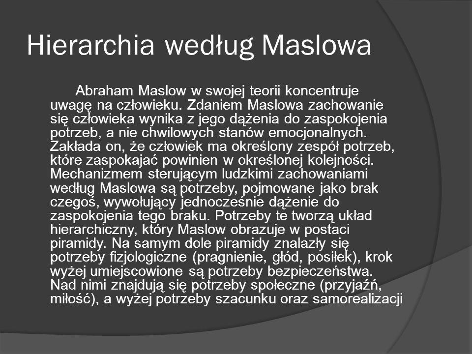 Hierarchia według Maslowa Abraham Maslow w swojej teorii koncentruje uwagę na człowieku.