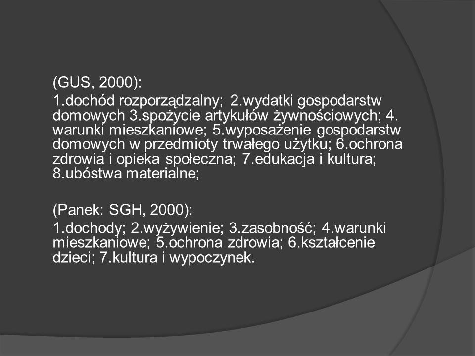 (GUS, 2000): 1.dochód rozporządzalny; 2.wydatki gospodarstw domowych 3.spożycie artykułów żywnościowych; 4.