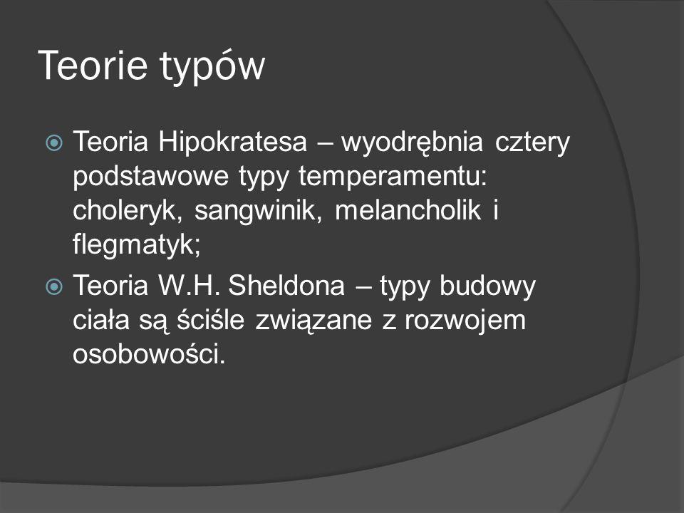Teorie typów Teoria Hipokratesa – wyodrębnia cztery podstawowe typy temperamentu: choleryk, sangwinik, melancholik i flegmatyk; Teoria W.H.