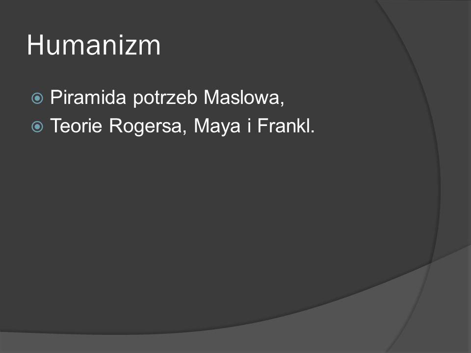 Humanizm Piramida potrzeb Maslowa, Teorie Rogersa, Maya i Frankl.