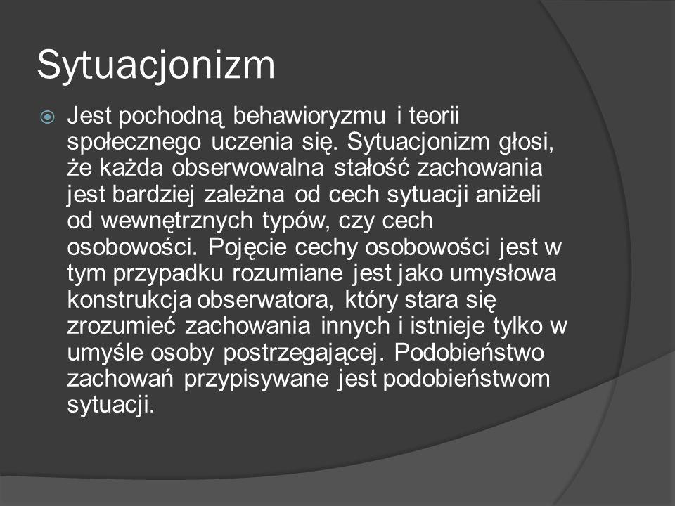 Sytuacjonizm Jest pochodną behawioryzmu i teorii społecznego uczenia się.