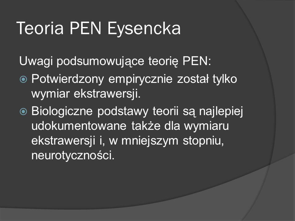 Teoria PEN Eysencka Uwagi podsumowujące teorię PEN: Potwierdzony empirycznie został tylko wymiar ekstrawersji.