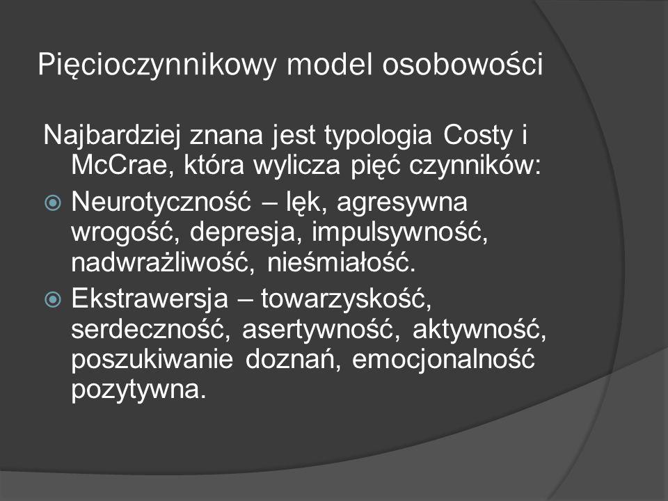 Pięcioczynnikowy model osobowości Najbardziej znana jest typologia Costy i McCrae, która wylicza pięć czynników: Neurotyczność – lęk, agresywna wrogość, depresja, impulsywność, nadwrażliwość, nieśmiałość.