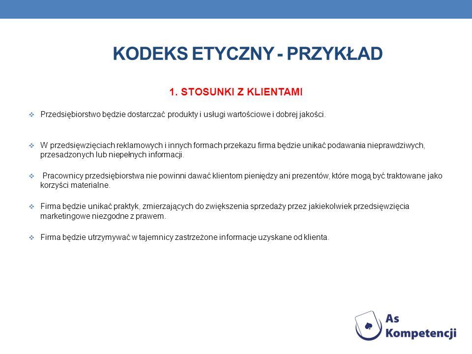 KODEKS ETYCZNY - PRZYKŁAD 1. STOSUNKI Z KLIENTAMI Przedsiębiorstwo będzie dostarczać produkty i usługi wartościowe i dobrej jakości. W przedsięwzięcia