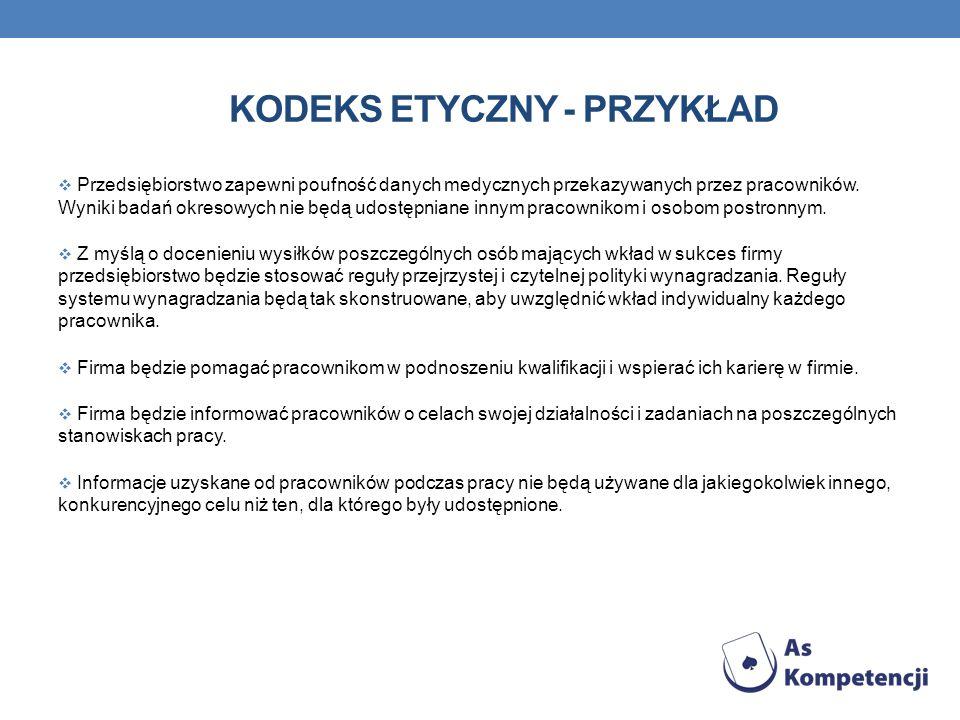KODEKS ETYCZNY - PRZYKŁAD Przedsiębiorstwo zapewni poufność danych medycznych przekazywanych przez pracowników. Wyniki badań okresowych nie będą udost