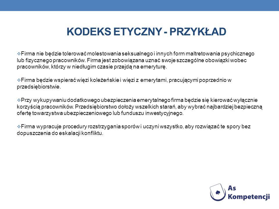 KODEKS ETYCZNY - PRZYKŁAD Firma nie będzie tolerować molestowania seksualnego i innych form maltretowania psychicznego lub fizycznego pracowników. Fir