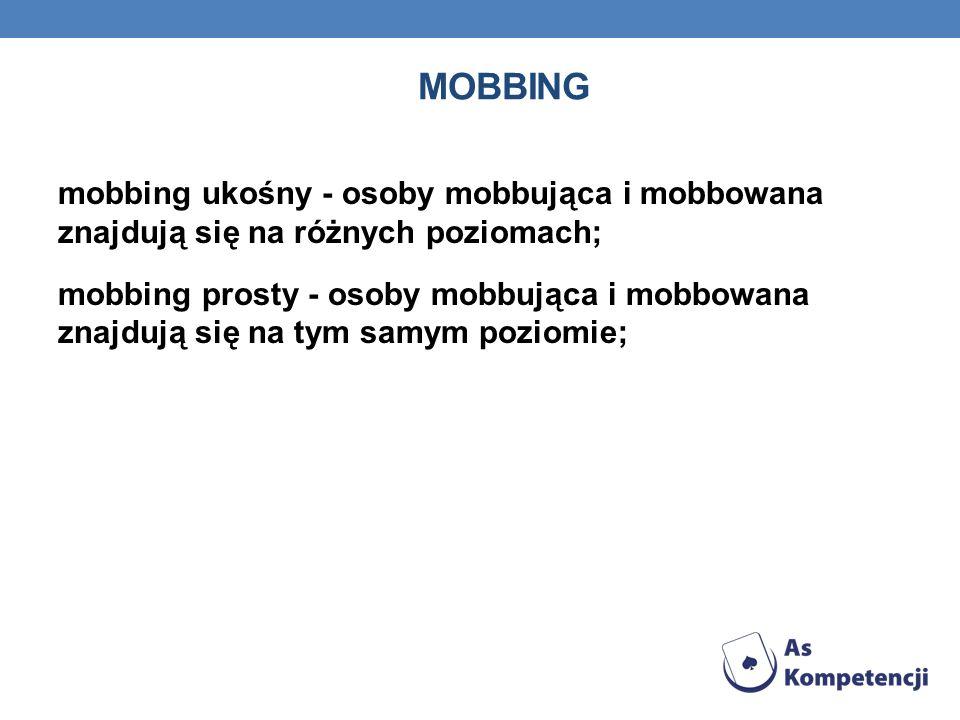 MOBBING mobbing ukośny - osoby mobbująca i mobbowana znajdują się na różnych poziomach; mobbing prosty - osoby mobbująca i mobbowana znajdują się na t