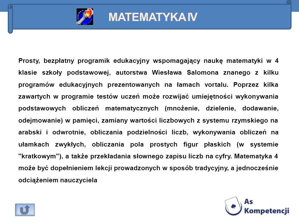 Prosty, bezpłatny programik edukacyjny wspomagający naukę matematyki w 4 klasie szkoły podstawowej, autorstwa Wiesława Salomona znanego z kilku progra