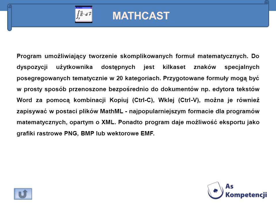 Program umożliwiający tworzenie skomplikowanych formuł matematycznych. Do dyspozycji użytkownika dostępnych jest kilkaset znaków specjalnych posegrego