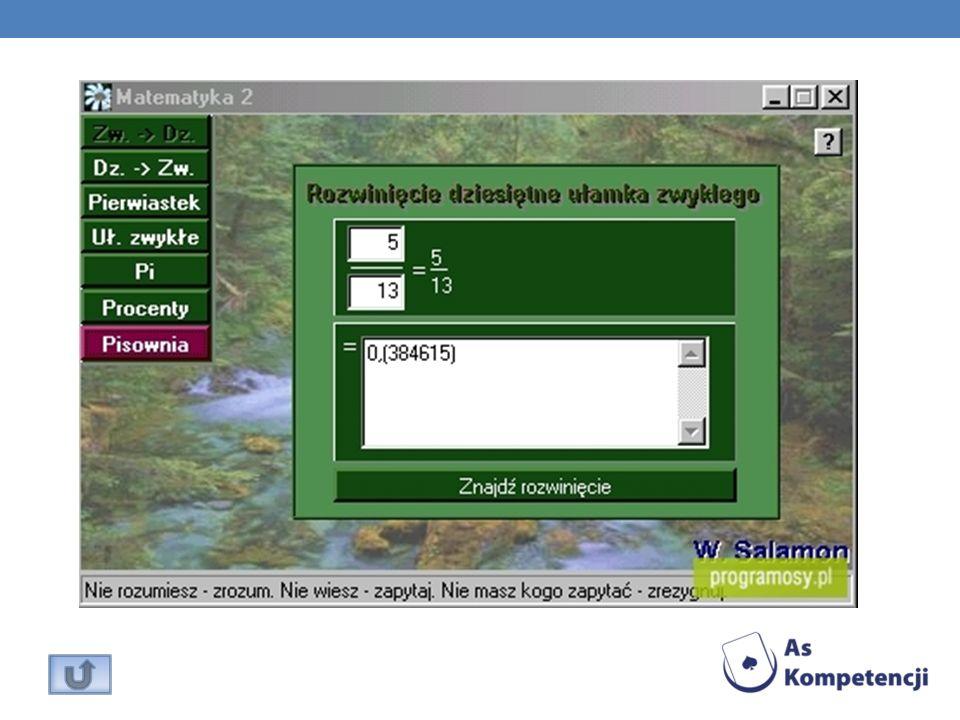 Program umożliwiający wydruk różnych rodzajów siatek matematycznych za pomocą drukarki.