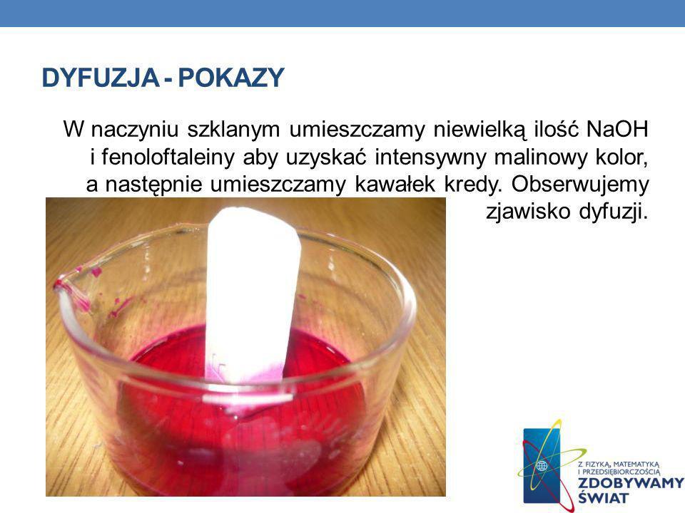 DYFUZJA - POKAZY W naczyniu szklanym umieszczamy niewielką ilość NaOH i fenoloftaleiny aby uzyskać intensywny malinowy kolor, a następnie umieszczamy
