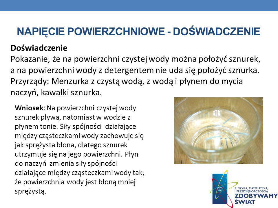 NAPIĘCIE POWIERZCHNIOWE - DOŚWIADCZENIE Doświadczenie Pokazanie, że na powierzchni czystej wody można położyć sznurek, a na powierzchni wody z deterge