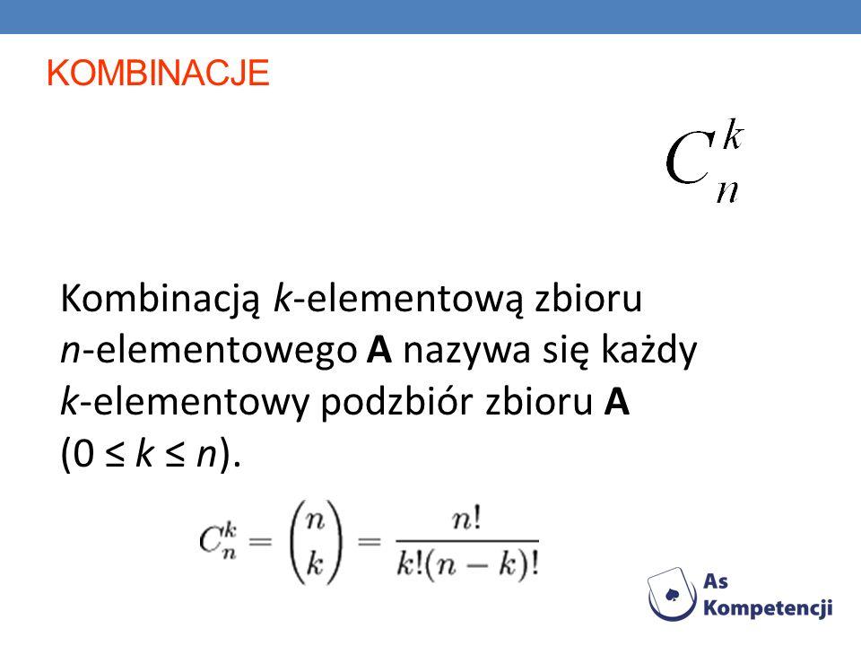KOMBINACJE Kombinacją k-elementową zbioru n-elementowego A nazywa się każdy k-elementowy podzbiór zbioru A (0 k n).