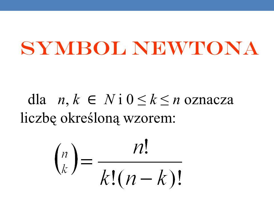 Symbol Newtona dla n, k N i 0 k n oznacza liczbę określoną wzorem: