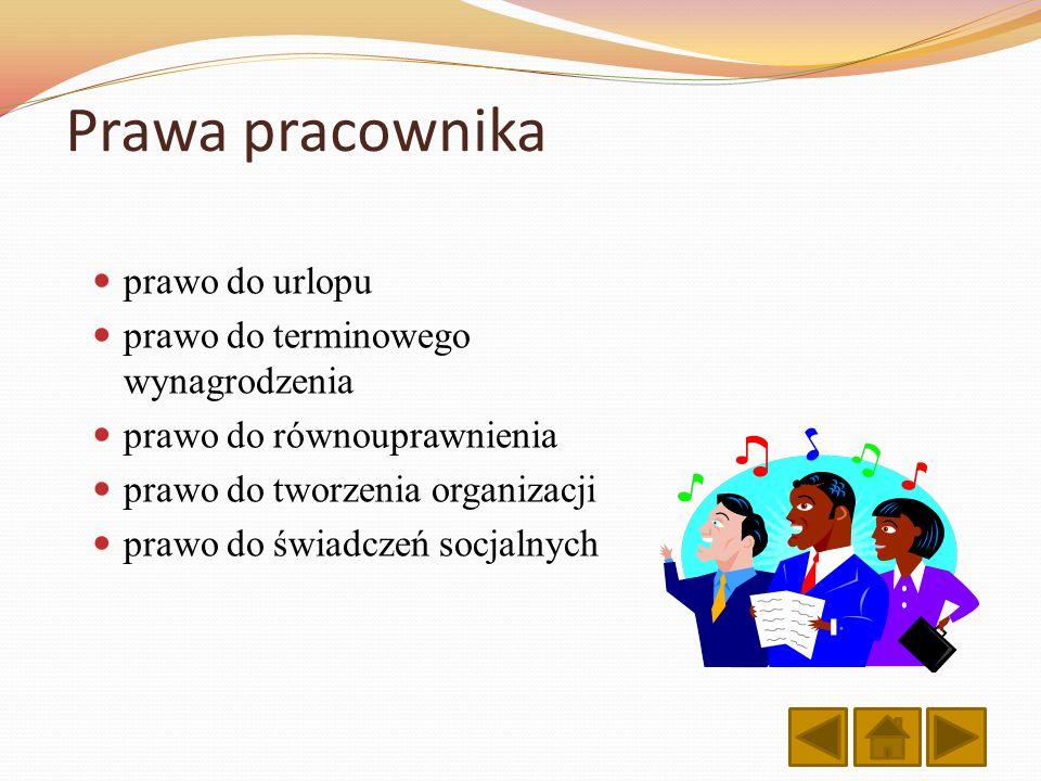 Prawa pracownika prawo do urlopu prawo do terminowego wynagrodzenia prawo do równouprawnienia prawo do tworzenia organizacji prawo do świadczeń socjal
