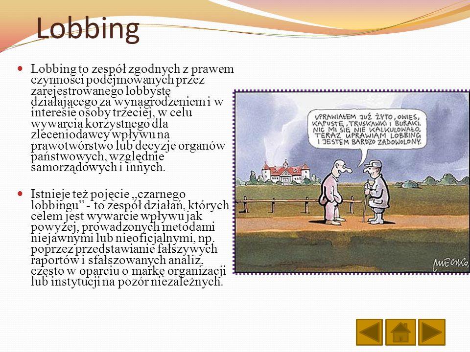 Lobbing Lobbing to zespół zgodnych z prawem czynności podejmowanych przez zarejestrowanego lobbystę działającego za wynagrodzeniem i w interesie osoby