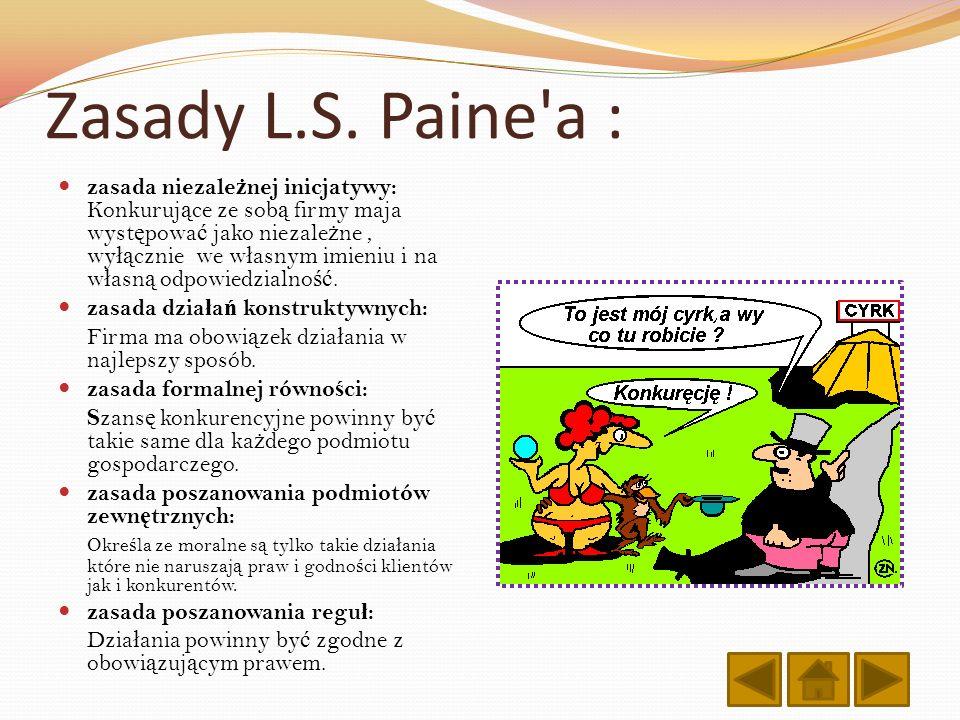 Zasady L.S. Paine'a : zasada niezale ż nej inicjatywy: Konkuruj ą ce ze sob ą firmy maja wyst ę powa ć jako niezale ż ne, wy łą cznie we w ł asnym imi
