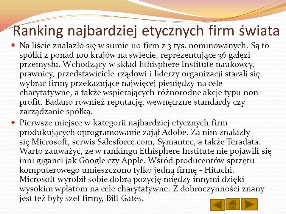 Ranking najbardziej etycznych firm świata Na liście znalazło się w sumie 110 firm z 3 tys. nominowanych. Są to spółki z ponad 100 krajów na świecie, r