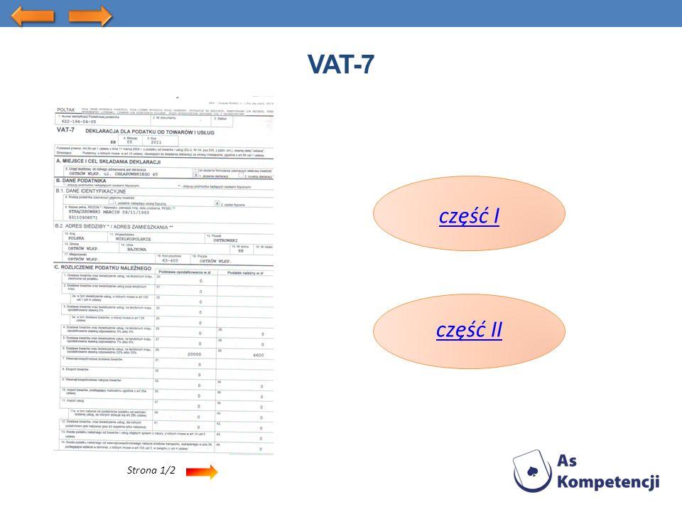 Strona 1/2 VAT-7 część I część II