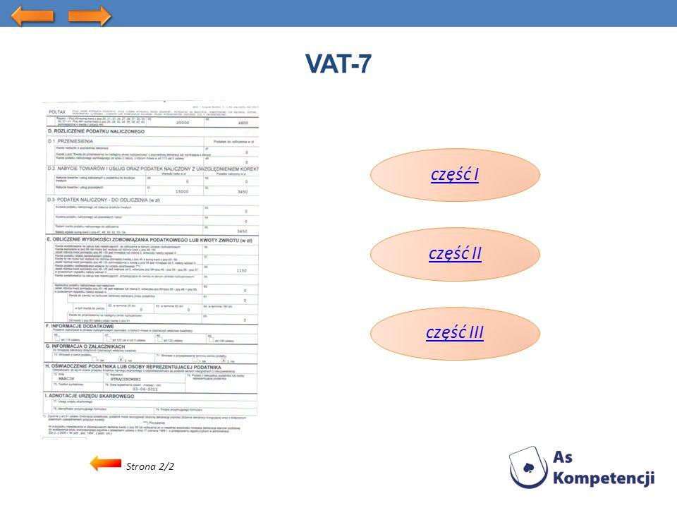 Strona 2/2 VAT-7 część I część II część III