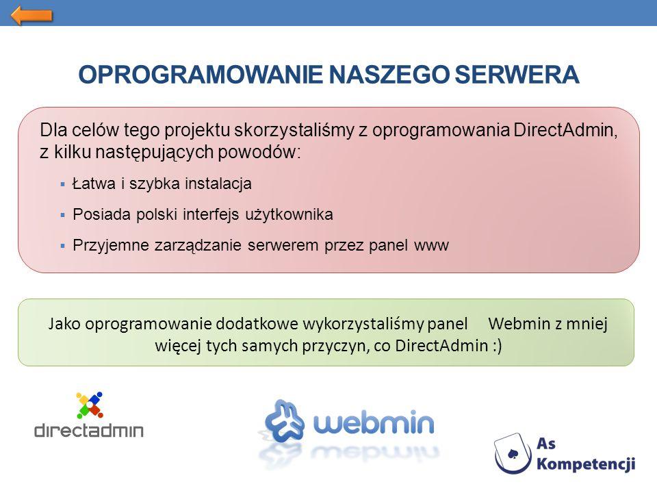 OPROGRAMOWANIE NASZEGO SERWERA Dla celów tego projektu skorzystaliśmy z oprogramowania DirectAdmin, z kilku następujących powodów: Łatwa i szybka instalacja Posiada polski interfejs użytkownika Przyjemne zarządzanie serwerem przez panel www Jako oprogramowanie dodatkowe wykorzystaliśmy panel Webmin z mniej więcej tych samych przyczyn, co DirectAdmin :)