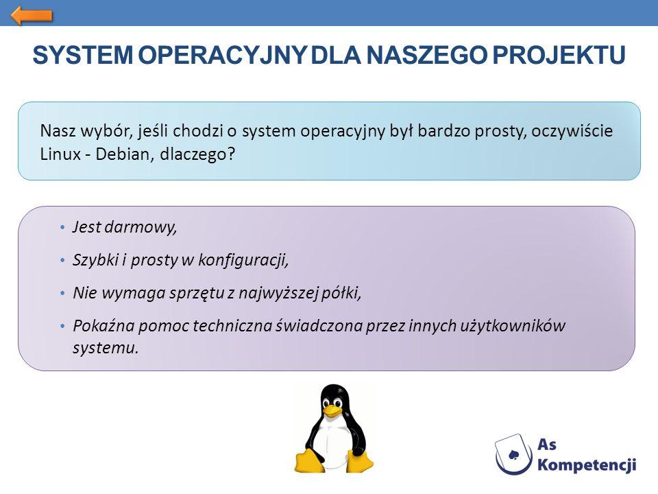 SYSTEM OPERACYJNY DLA NASZEGO PROJEKTU Nasz wybór, jeśli chodzi o system operacyjny był bardzo prosty, oczywiście Linux - Debian, dlaczego.