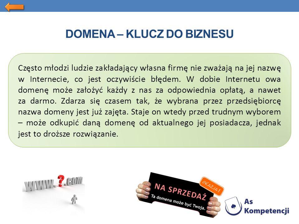 DOMENA – KLUCZ DO BIZNESU Często młodzi ludzie zakładający własna firmę nie zważają na jej nazwę w Internecie, co jest oczywiście błędem.