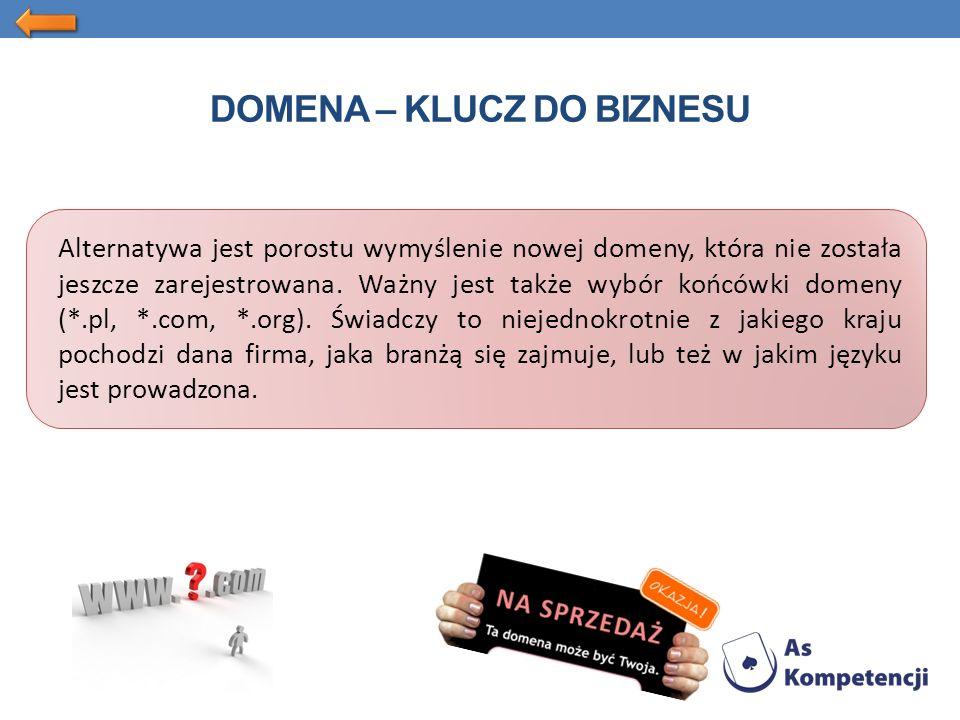 DOMENA – KLUCZ DO BIZNESU Alternatywa jest porostu wymyślenie nowej domeny, która nie została jeszcze zarejestrowana.