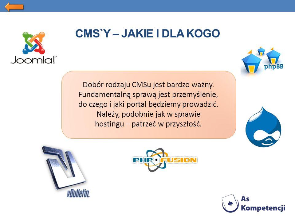 CMS`Y – JAKIE I DLA KOGO Dobór rodzaju CMSu jest bardzo ważny.