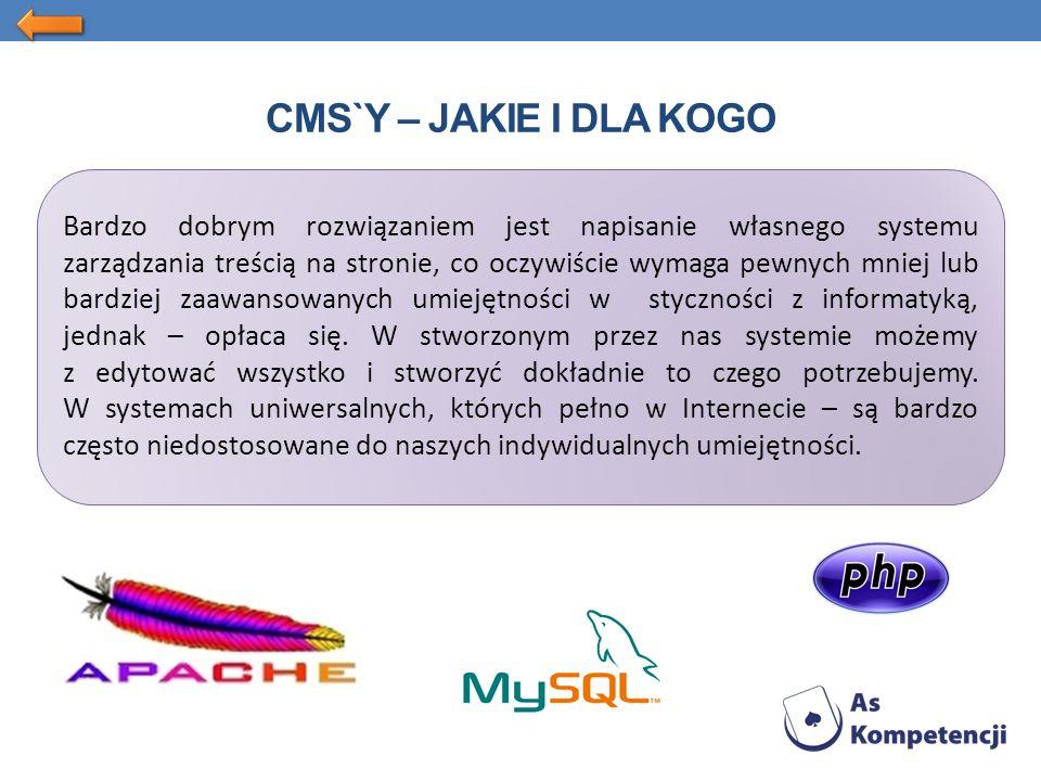CMS`Y – JAKIE I DLA KOGO Bardzo dobrym rozwiązaniem jest napisanie własnego systemu zarządzania treścią na stronie, co oczywiście wymaga pewnych mniej lub bardziej zaawansowanych umiejętności w styczności z informatyką, jednak – opłaca się.