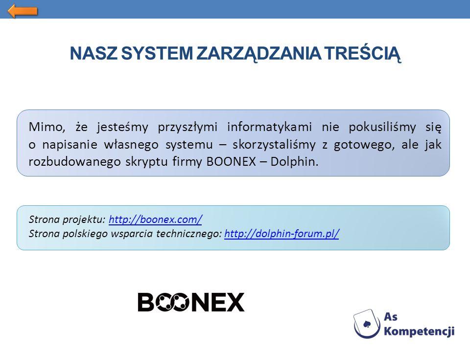 NASZ SYSTEM ZARZĄDZANIA TREŚCIĄ Mimo, że jesteśmy przyszłymi informatykami nie pokusiliśmy się o napisanie własnego systemu – skorzystaliśmy z gotowego, ale jak rozbudowanego skryptu firmy BOONEX – Dolphin.