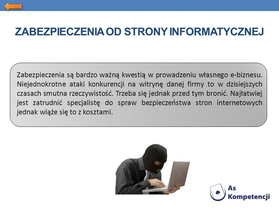 ZABEZPIECZENIA OD STRONY INFORMATYCZNEJ Zabezpieczenia są bardzo ważną kwestią w prowadzeniu własnego e-biznesu.