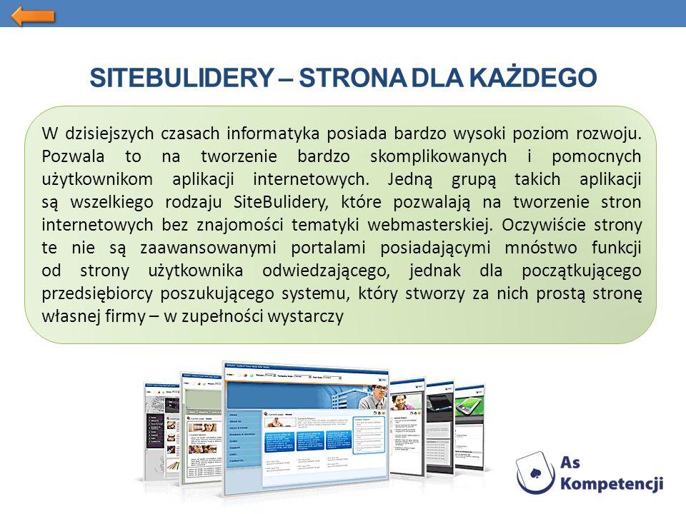 SITEBULIDERY – STRONA DLA KAŻDEGO W dzisiejszych czasach informatyka posiada bardzo wysoki poziom rozwoju.