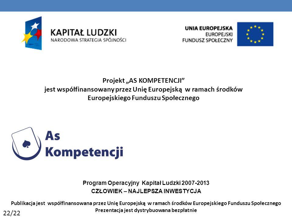 Projekt AS KOMPETENCJI jest współfinansowany przez Unię Europejską w ramach środków Europejskiego Funduszu Społecznego Program Operacyjny Kapitał Ludzki 2007-2013 CZŁOWIEK – NAJLEPSZA INWESTYCJA Publikacja jest współfinansowana przez Unię Europejską w ramach środków Europejskiego Funduszu Społecznego Prezentacja jest dystrybuowana bezpłatnie 22/22 65