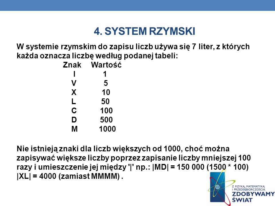 4. SYSTEM RZYMSKI W systemie rzymskim do zapisu liczb używa się 7 liter, z których każda oznacza liczbę według podanej tabeli: Znak Wartość I 1 V 5 X